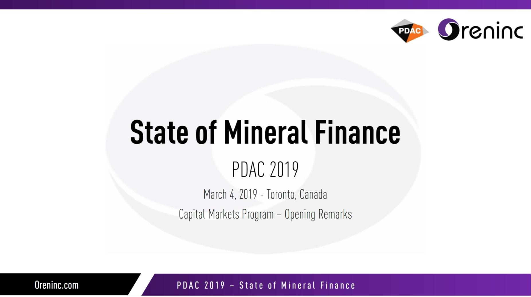 Oreninc PDAC2019 Presentation